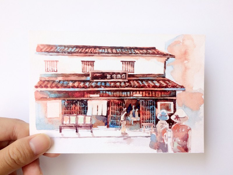 Seto Inland Sea - Miyake store scenery sketch watercolor postcard