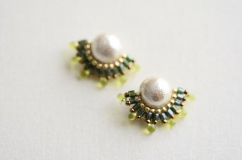 cotton pearl bijou  clip earrings  pierced earrings