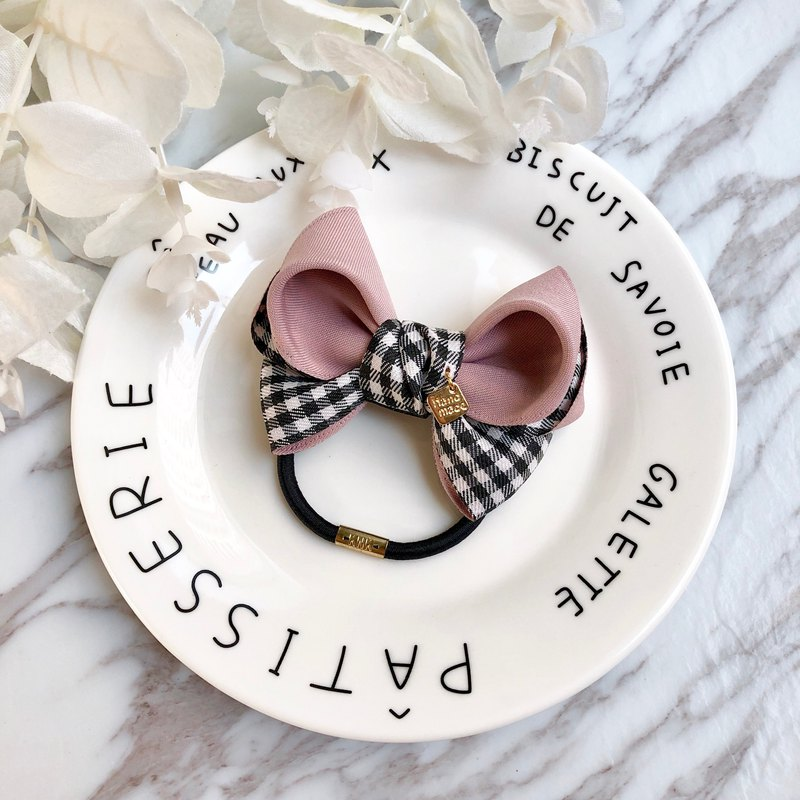 Black and white checkered bow hair bundle / colorful gray powder
