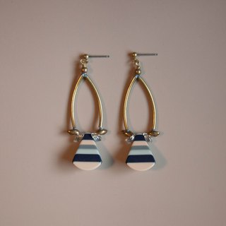 Retro Stripes Camel & Gray Earrings