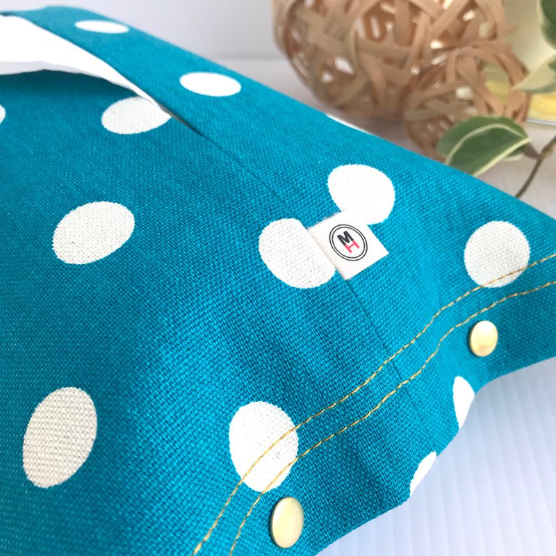 For CHIEN Yellow and Aqua Blue Polka Dot Canvas Cover