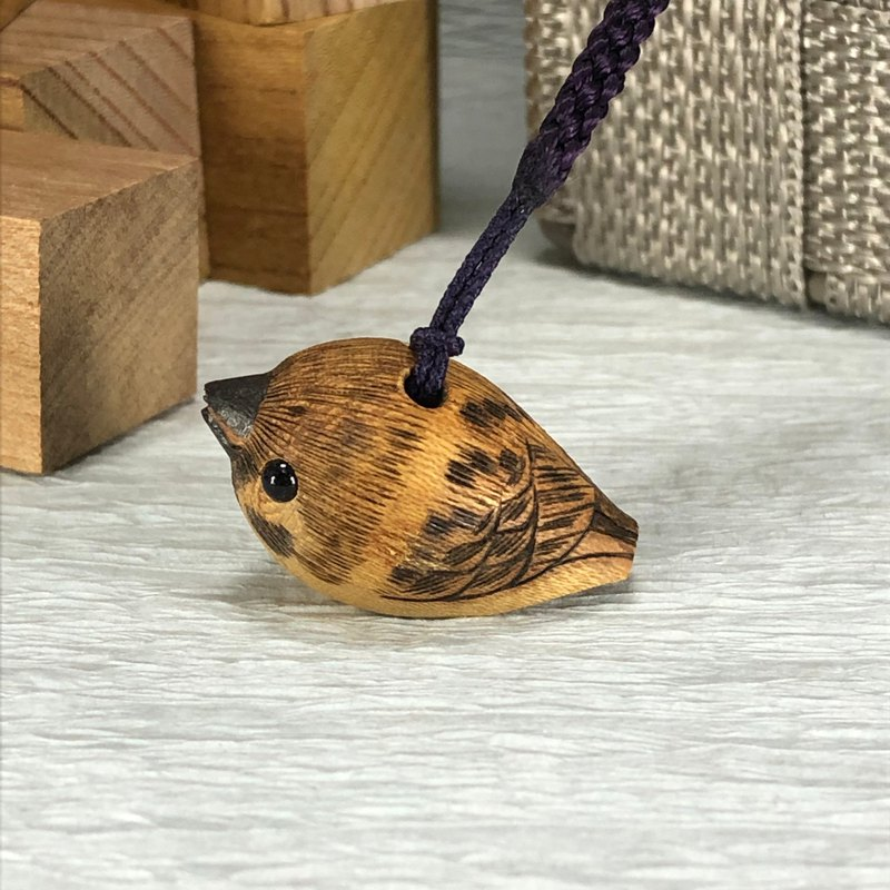 sparrow's netsuke strap,woodcarving,strap