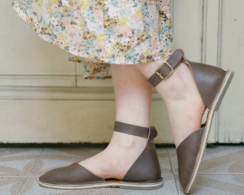Ankle Strap Sandals, Leather Sandals, Summer Sandals, Leather Flats