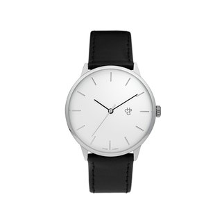 Chpo Brand Swedish brand - Khorshid silver dial black leather watch