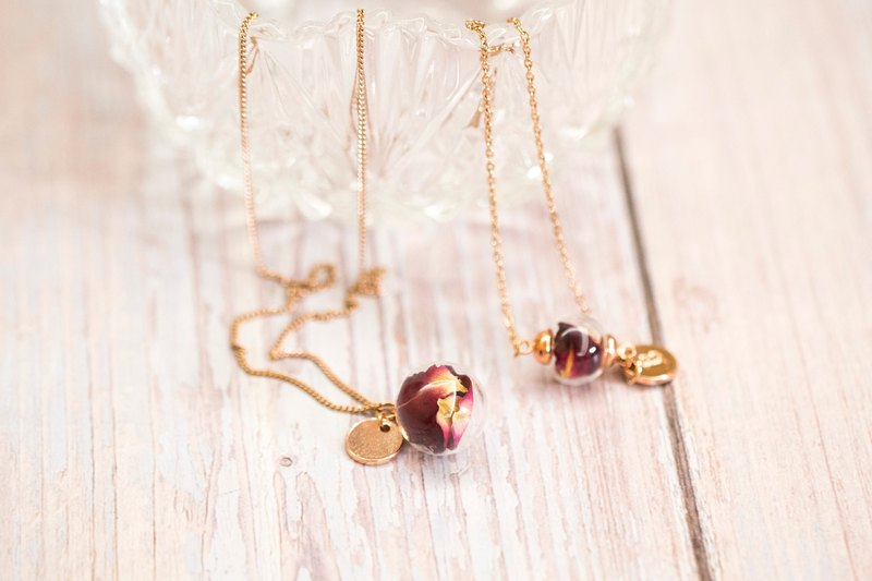 Real Rose Petal in Glass Ball Stainless Steel Necklace & Bracelet SET /Rose Gold
