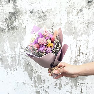 | Spring day agreement | Dry flowers. birthday present. Graduation bouquet. Daily bouquet. Pink purple