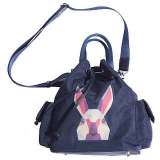 Khieng Atelier Diamond Rabbit Rabbit diamond shoulder bucket bag - Blue Fashion