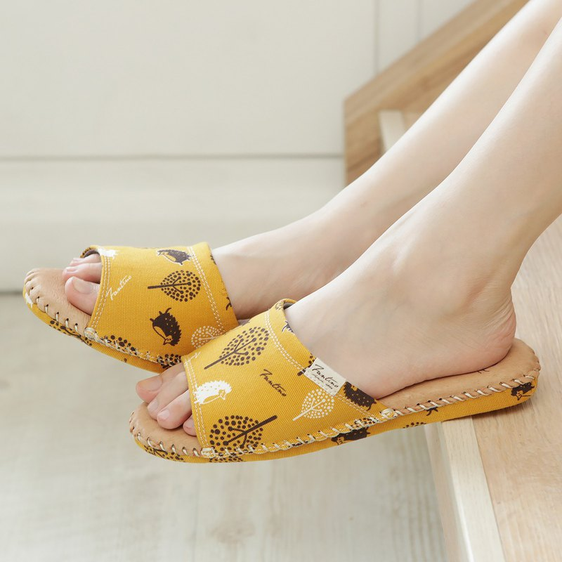 Leather cloth flower indoor slippers (jungle peekaboo) mustard yellow