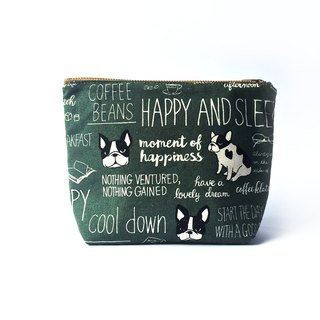 Bulldog Canvas Travel Pouch • Cute Cosmetic Pouch, Green