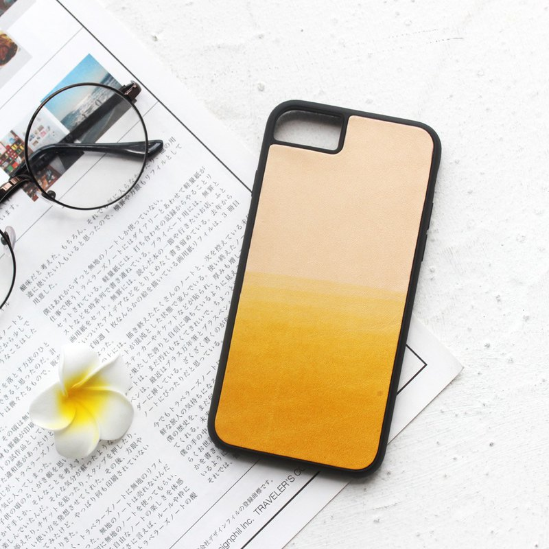 Yellow tea iphone6s 7 8 plus X leather mobile phone shell
