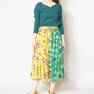 Pre-ordered double color matching cute Nordic style irregular wide pants IACE-8902 yellow YELLOW
