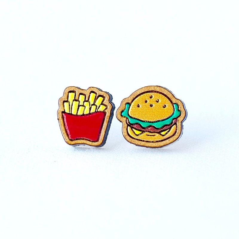 Painted wood earrings-French fries & burgers