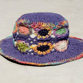 Valentine's Day gift limited handmade knitted cotton hood / weaving hat / fisherman hat / straw hat / sun hat / hook hat - blue purple forest flower weaving