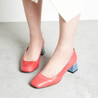 H THREE classic square heel shoes / Rose / Rough / retro