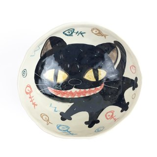 Nice Little Clay handmade four-legged bowl smile black cat 02021-01