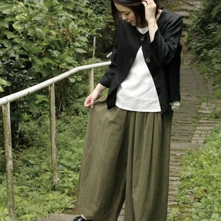 Ultra wide cotton pants Khaki
