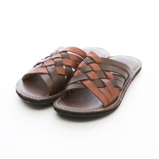 ARGIS Vibram two-color cowhide woven slippers #31124 deep / light brown - Japanese handmade