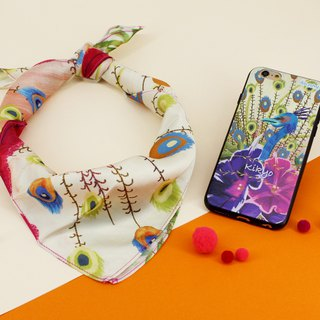 [Customizable] Scarf Phone Case Peacock Bellflower Set S--SET043-FF