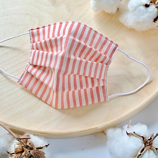 Natural cotton handmade mask Stripe Red | Reduce cloudiness of glasses