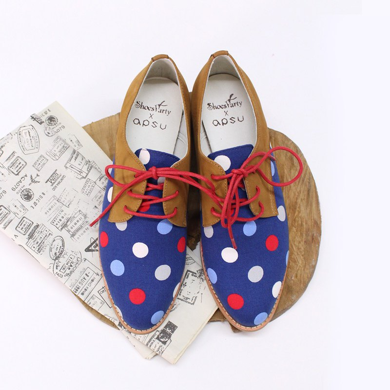 Bobo Dotted derby shoes / women's shoes / leather / handmade / Japanese cloth / M2-18824F