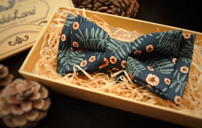 Birdddland original handmade bow tie Preppy retro flowers navy blue gift Swing ball