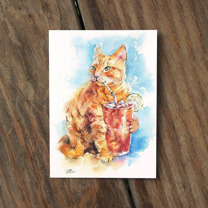 水彩繪毛孩系列明信片 - 淡定橘貓喝紅茶