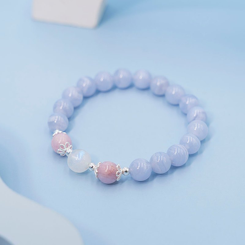 Moire | 925 Sterling Silver Blue Pattern Agate Purple Spodum Blue Moonstone Crystal Bracelet