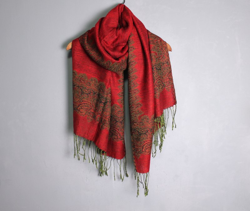 FOAK vintage red amoeba pattern double-sided scarf