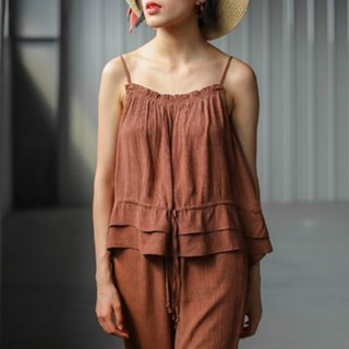 Earth-colored bark texture suspenders small cute jacket + elastic waist loose pants wide pants holiday suit