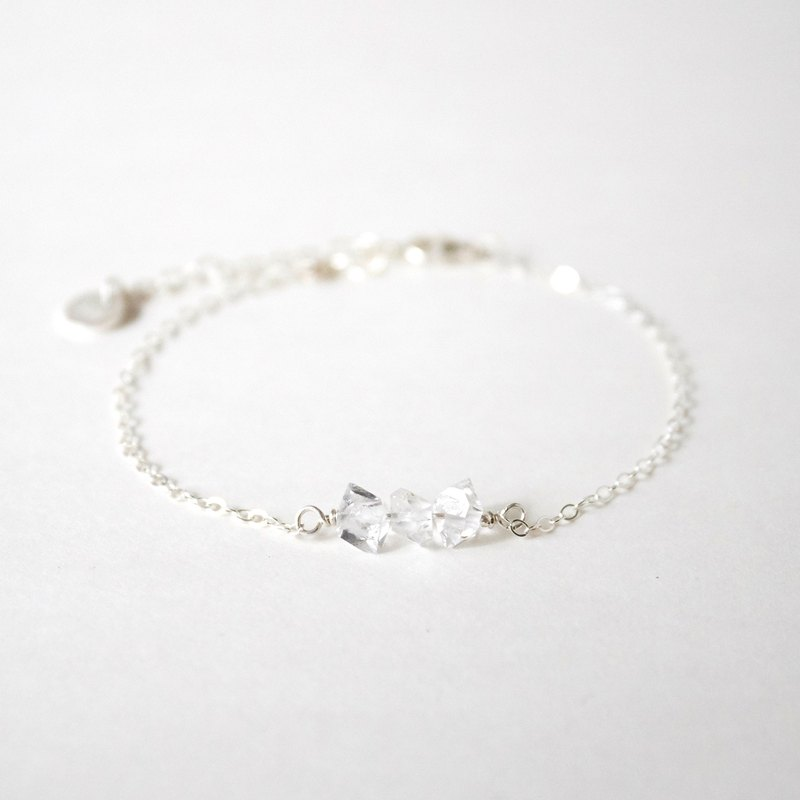 Handmade Simple Herkimer Diamond with 925 silver Bracelet, Birth stone for April