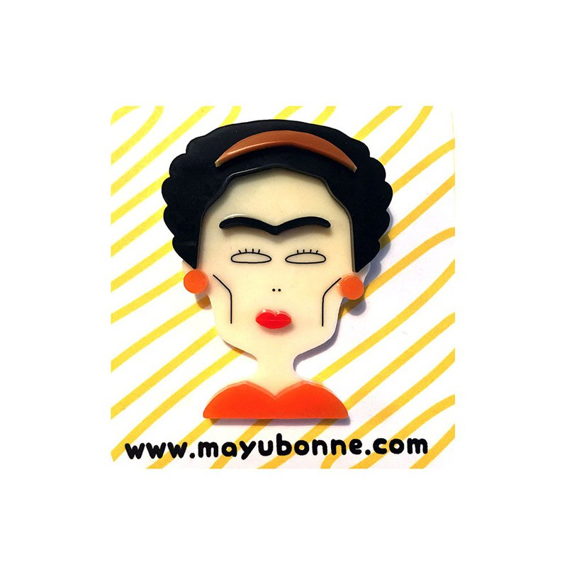 Frida KahloAcrylic Brooch Pin(orange)