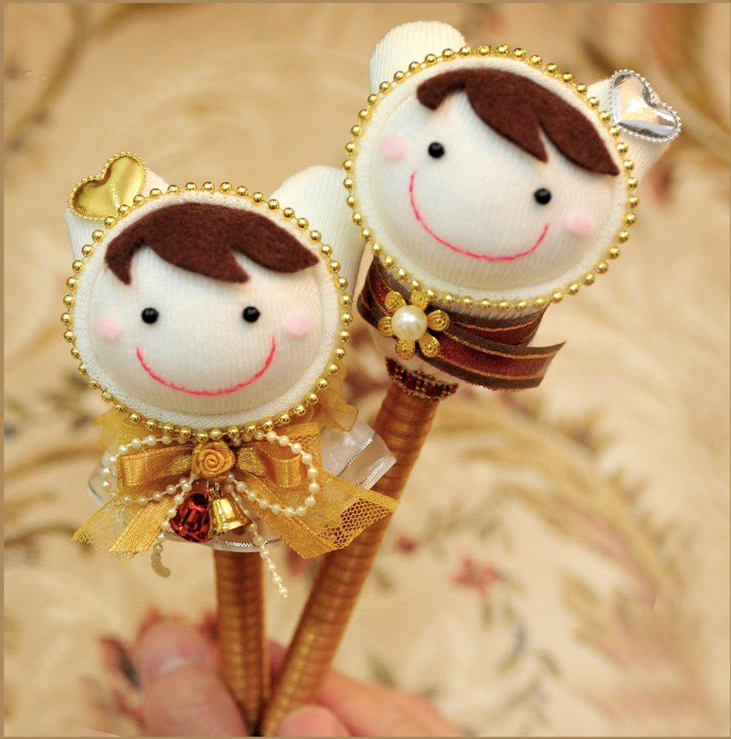 Exquisite handmade wedding pen signature pen socks doll -Q than eternal golden rabbit subsection (wedding gift OF Exclusive handmade custom)