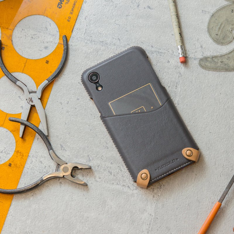iPhone XR Minimalist Series Leather Case - Gray