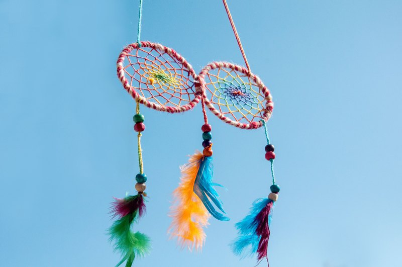 National style hanging boho hand-woven cotton and linen dream catcher dream Cather- red and white eyes