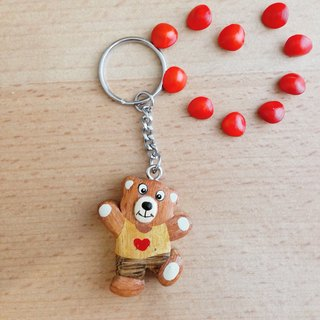 [Limited edition ✦ handmade wooden] love bear key ring / strap