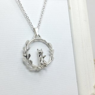 Silver Wreath Curious Cat Necklace Cat Loss Lover Gift For Birthday Valentines