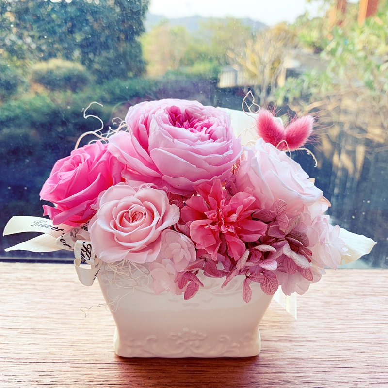 [Eternal Life Pot Flower] Mimi Small Pot Flower-Naughty Pink Mother's Day Universal Gift