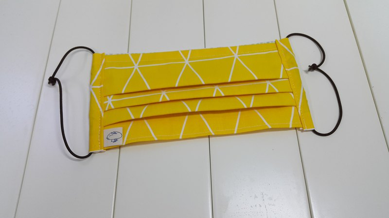 [Can send abroad] Lingge / Yellow replaceable filter material wrinkle three-dimensional cloth mask