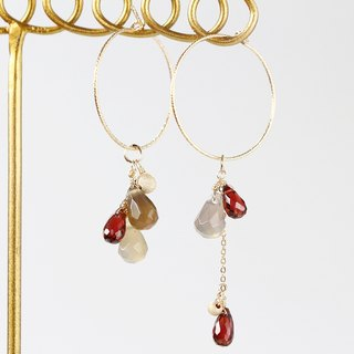 14kgf-garnet asymmetry glitter hoop pierced earrings(can change to clip-on)