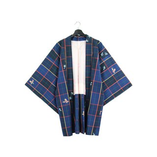 Back to Green Japan Bring Back Tibetan Navy Plaid Vintage kimono