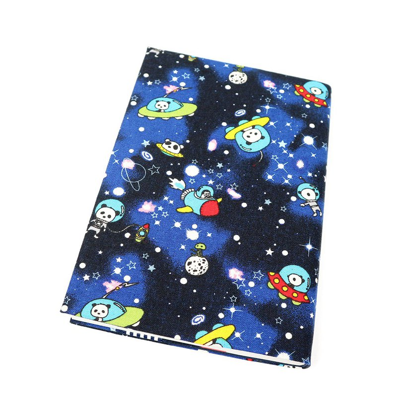 A5 Mother's Manual Cloth Book Cover Cloth Book Cover-Universe Planet Panda (Blue)