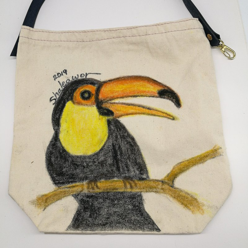 Hand painted Taiwan black bear cloth bag + leather handle