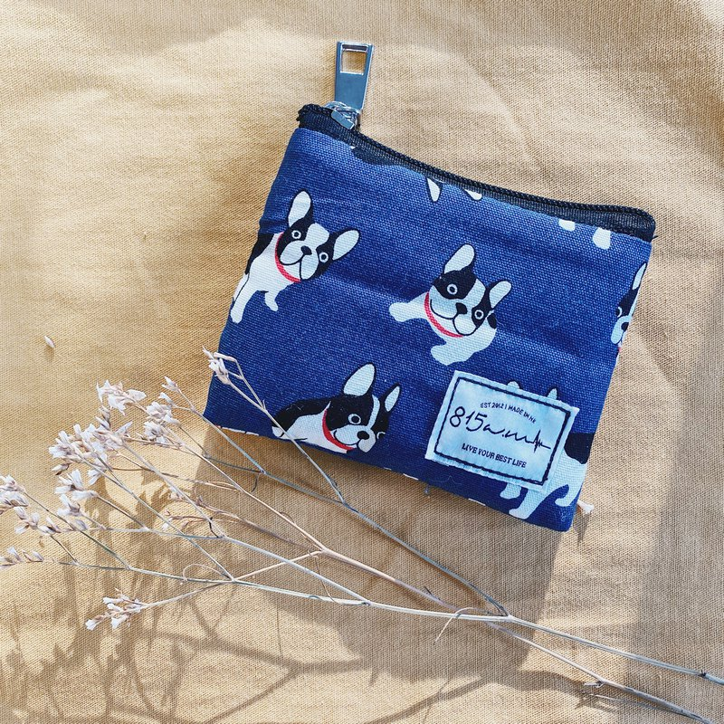 Dark Blue French Bulldog / French Bucket Bag / Coin Purse | 815a.m
