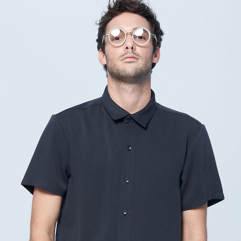 Stone@s Soft Straight Line Shirt / casual soft shirt black