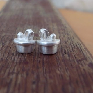 Tiny Cactus Potted --Sterling Silver--Cute Stud Earrings