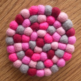 Cup coasters, Felt coasters Round 10cm Pink