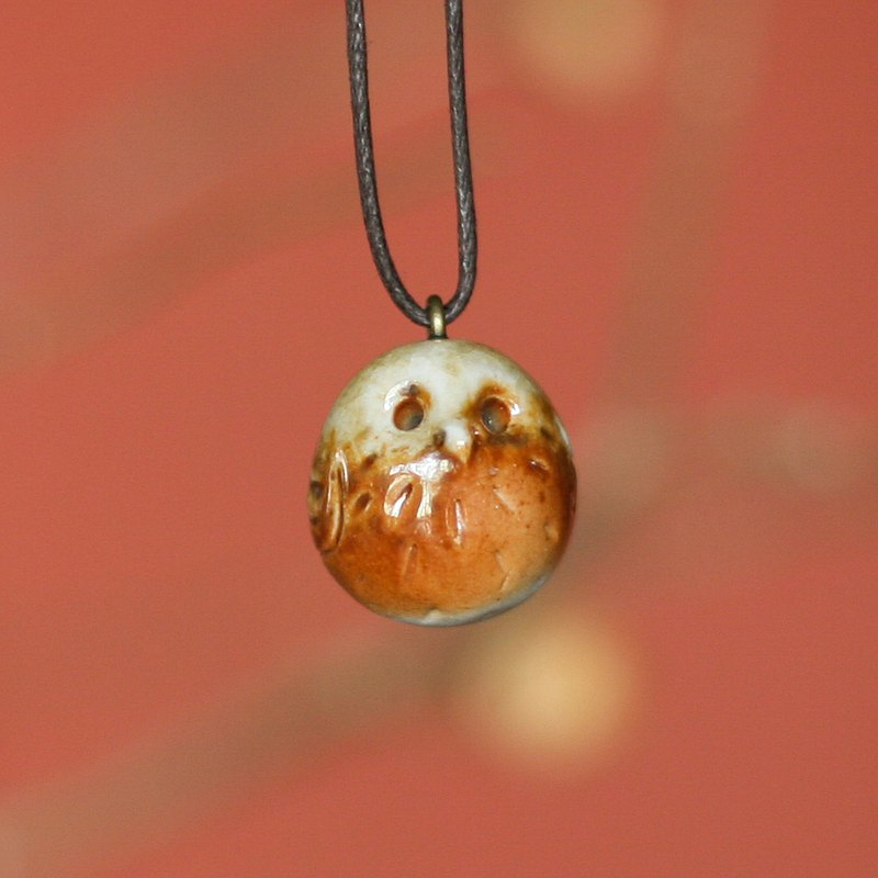 Firewood Pottery Essential Oil Necklace Latte Little Owl