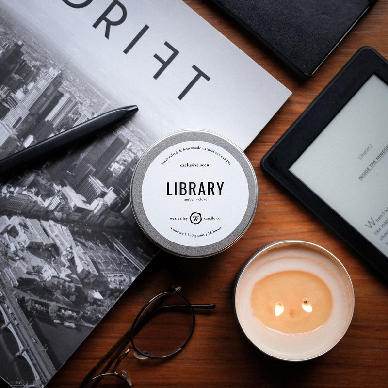 Soy Candle Library Blend Travel Tin - Amber & Clove