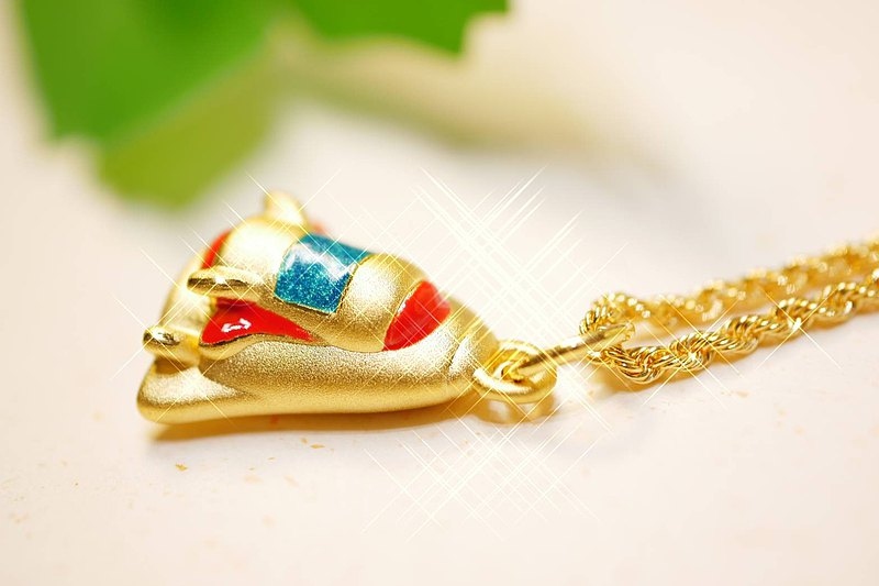 Space Shuttle Pendant-(Hard Gold Style)