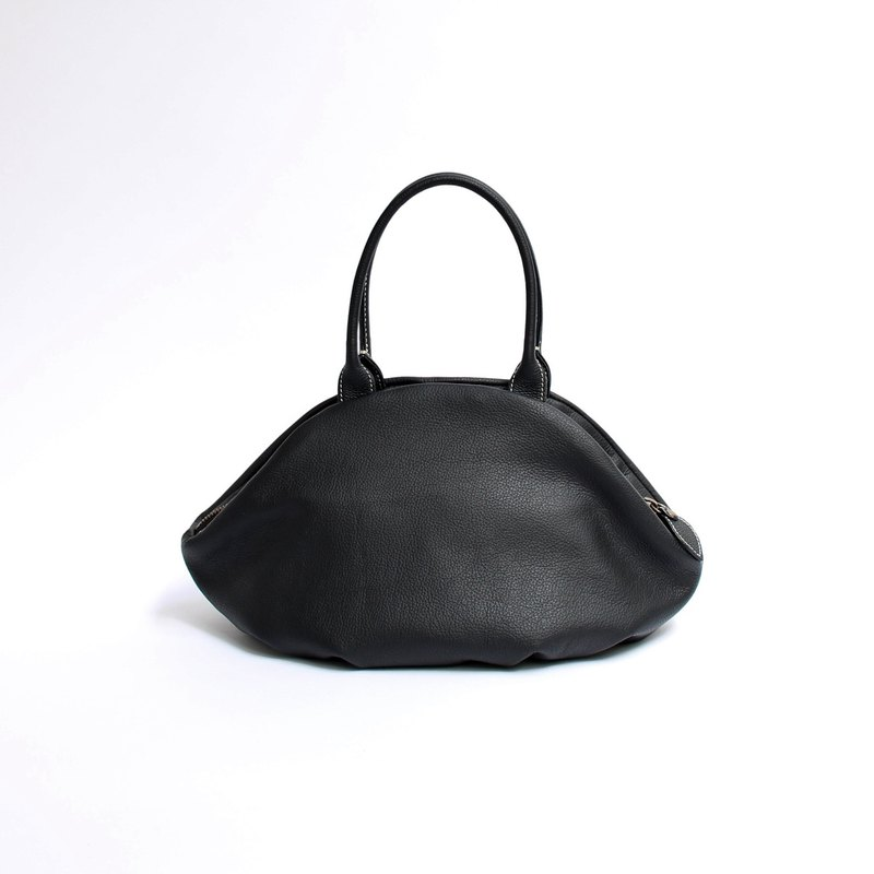 Leather, black, almond bag